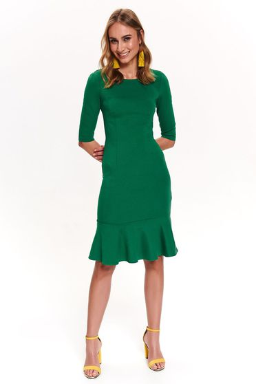 Rochie Top Secret verde de zi cu maneca 3/4 cu un croi mulat cu volanase la baza rochiei