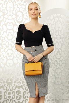 Camasa dama Fofy neagra office cu un croi mulat din bumbac elastic cu decolteu in v accesorizata cu fundite