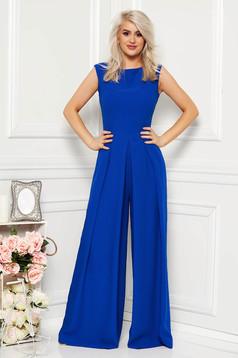 Blue elegant sleeveless jumpsuit flaring cut nonelastic fabric