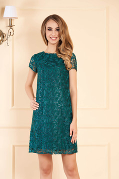 Rochie verde-inchis eleganta de ocazie din dantela cu croi in a cu aplicatii cu paiete captusita pe interior