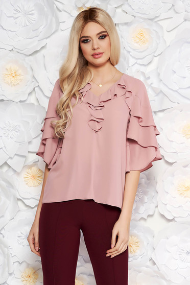 Bluza dama roz deschis eleganta din voal cu decolteu cu volanase cu croi larg