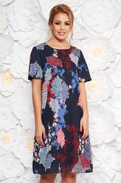 Rochie albastru-inchis eleganta din material subtire cu imprimeuri florale