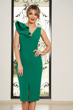 StarShinerS green occasional dress with v-neckline with tented cut slightly elastic fabric with ruffle details