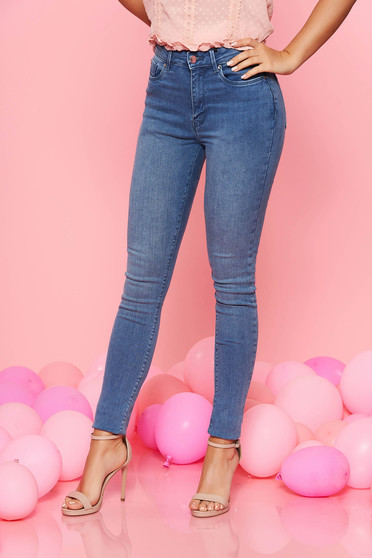 Blugi Top Secret albastri deschis skinny cu talie medie din bumbac usor elastic