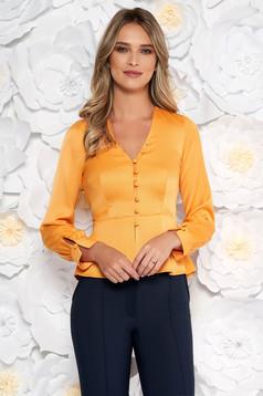 Bluza dama StarShinerS portocalie eleganta cu un croi mulat din material satinat cu peplum