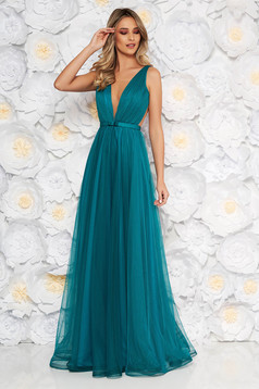 Ana Radu turquoise dress accessorized with tied waistband from tulle with deep cleavage with inside lining luxurious