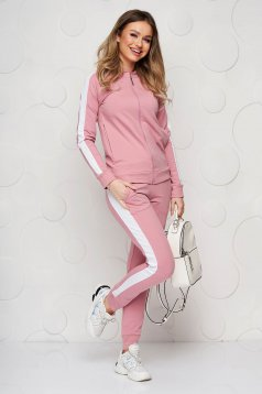 Lightpink sporty set slightly elastic cotton with tented cut with medium waist with elastic waist