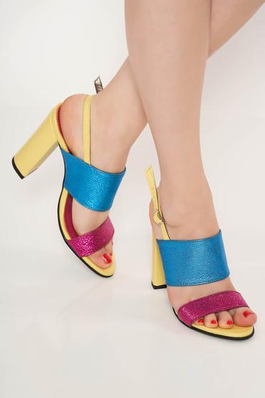 Sandale galbene elegante office din piele naturala cu toc gros