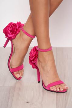 Sandale fuchsia de ocazie din piele naturala cu aplicatii florale