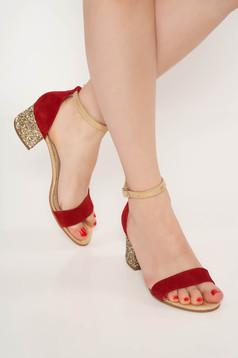 Sandale visinii de ocazie din piele naturala cu toc gros cu aplicatii cu sclipici