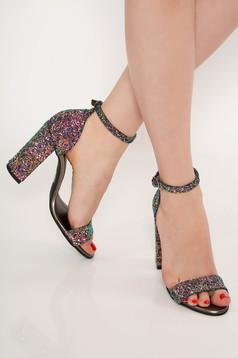 Sandale rosii de ocazie cu toc gros din piele naturala cu aplicatii cu sclipici