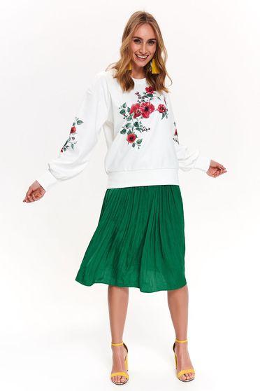 Bluza dama Top Secret alba casual cu croi larg cu maneca lunga din material moale cu imprimeu floral