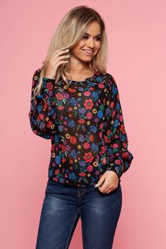 Bluza dama Top Secret neagra casual cu croi larg cu maneca lunga din material subtire cu imprimeuri florale