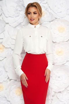 Camasa dama alba eleganta office cu croi larg din material vaporos