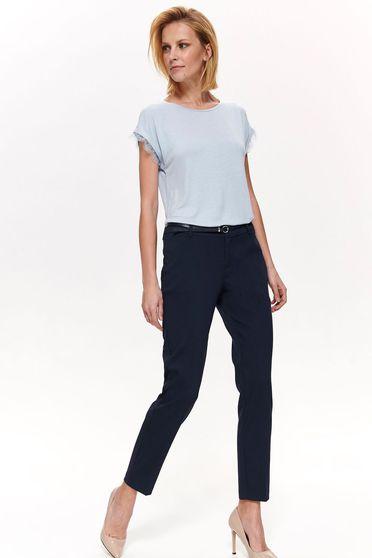 Bluza dama Top Secret albastra-deschis cu croi larg din material subtire cu aplicatii de dantela