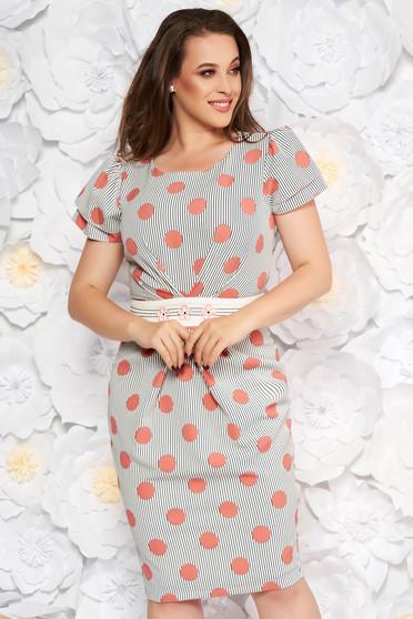 Rochie LaDonna rosa eleganta de zi tip creion cu insertii de broderie din material usor elastic cu buline