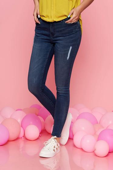 Blugi Top Secret albastri skinny casual din bumbac elastic cu talie medie