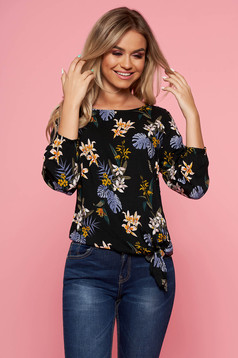 Top Secret black casual flared women`s blouse 3/4 sleeve with floral prints