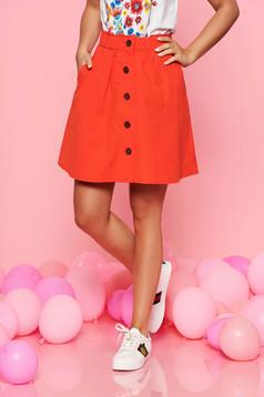 Fusta Top Secret rosie casual in clos din bumbac cu elastic in talie
