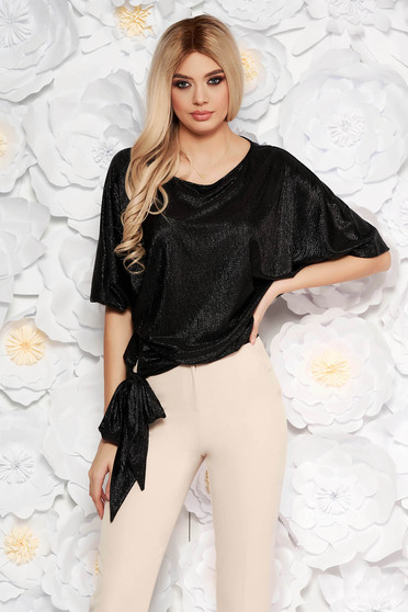 Bluza dama StarShinerS neagra eleganta cu croi larg din material lucios