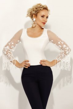 Camasa dama Fofy alba eleganta cu un croi mulat din bumbac elastic cu maneci din dantela