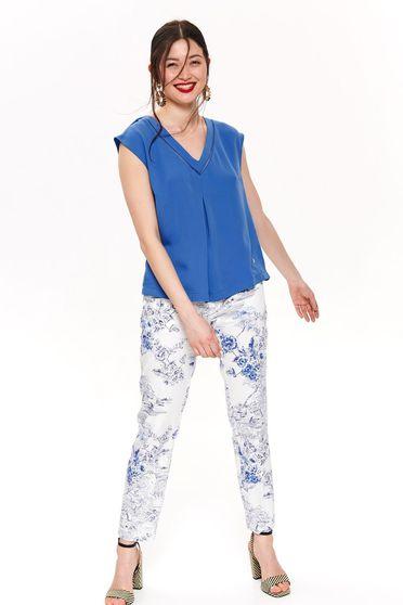 Bluza dama Top Secret albastra cu croi larg cu decolteu in v din material subtire