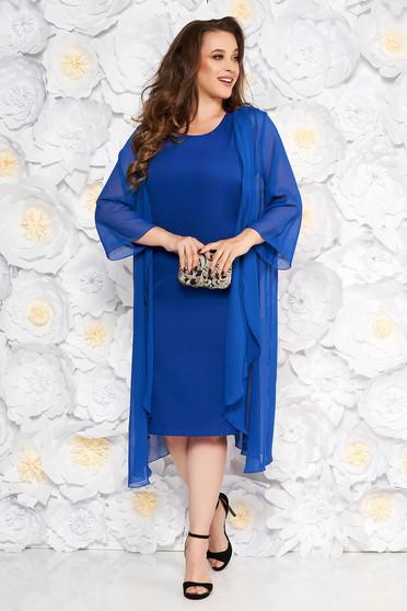 Rochie albastra eleganta midi din material fin la atingere fara maneci cu capa detasabila