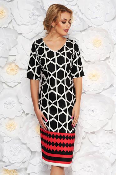 Rochie neagra de zi tip creion din material usor elastic cu imprimeu geometric