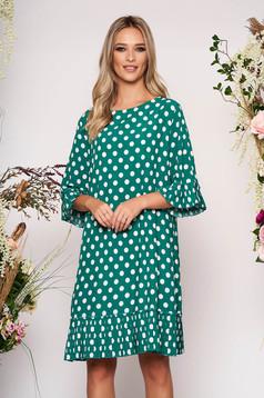 Rochie verde de zi cu croi larg cu maneci clopot din material subtire cu buline