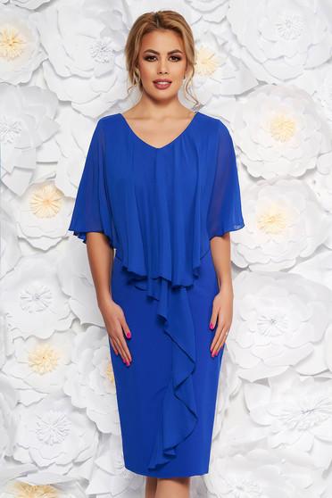 Rochie albastra midi de ocazie fara maneci cu un croi cambrat din stofa subtire usor elastica suprapunere cu voal