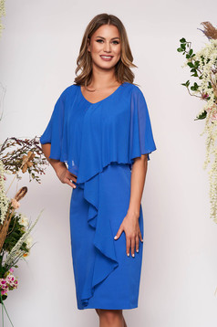 Blue occasional sleeveless midi dress arched cut slightly elastic fabric voile overlay