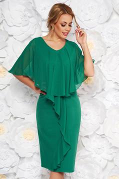 Rochie verde midi de ocazie fara maneci cu un croi cambrat din stofa subtire usor elastica suprapunere cu voal