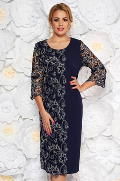 Rochie albastra-inchis de ocazie cu un croi drept din stofa usor elastica suprapunere cu dantela