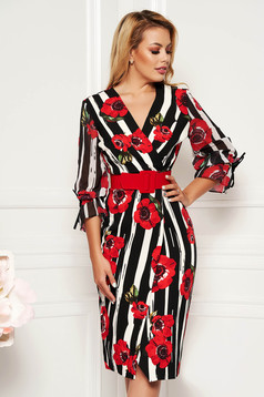 Rochie Fofy multicolora cu accente rosii eleganta midi cu decolteu cu un croi mulat cu accesoriu tip curea