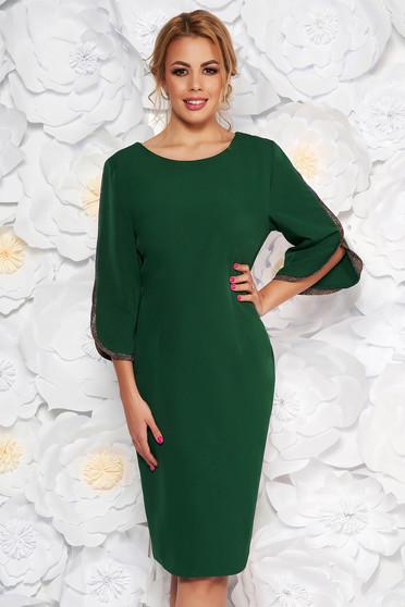 Rochie verde de ocazie tip creion din stofa subtire usor elastica cu maneci decupate