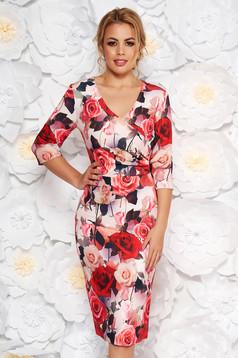 Rochie roz prafuit eleganta tip creion cu decolteu in v din material fin la atingere cu imprimeuri florale