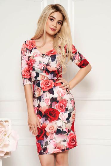 Rochie rosie eleganta tip creion cu decolteu in v din material fin la atingere cu imprimeuri florale