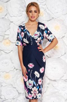 Rochie albastra-inchis eleganta tip creion cu decolteu in v din material usor elastic cu imprimeuri florale
