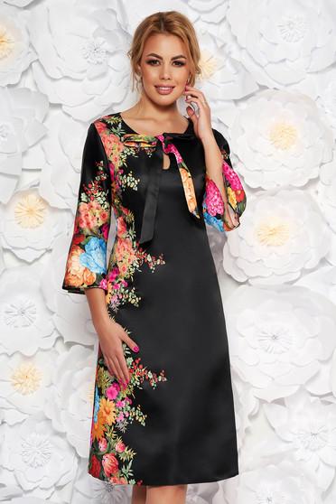 Rochie neagra eleganta cu croi in a din material satinat cu imprimeuri florale