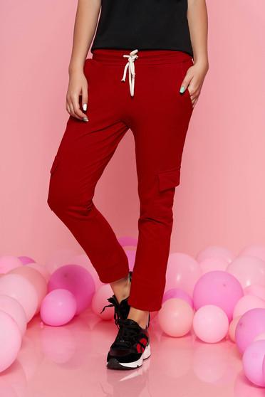 Pantaloni SunShine visinii casual cu elastic in talie cu buzunare din bumbac usor elastic