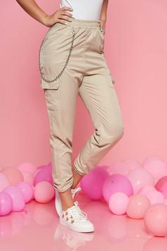 Pantaloni SunShine crem casual cu talie medie cu elastic in talie lantisor detasabil