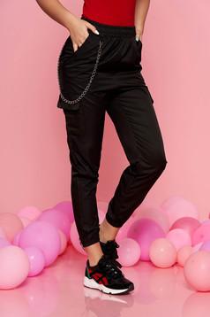 Pantaloni SunShine negri casual cu talie medie cu elastic in talie lantisor detasabil