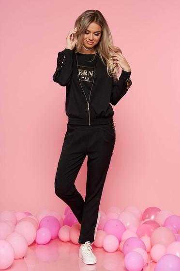 Set SunShine negru casual din 2 piese cu pantaloni din bumbac usor elastic cu aplicatii cu paiete