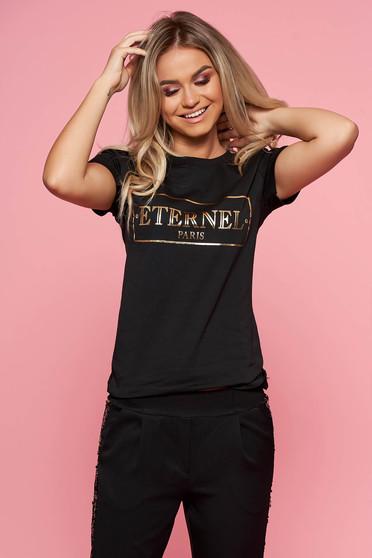 Tricou SunShine negru casual cu maneca scurta din bumbac usor elastic