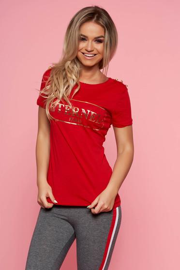 Tricou SunShine rosu casual cu maneca scurta din bumbac usor elastic