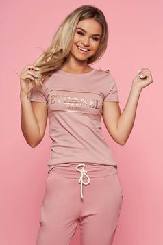 Tricou SunShine rosa casual cu maneca scurta din bumbac usor elastic