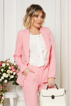 StarShinerS pink jacket with inside lining office from non elastic fabric arched cut