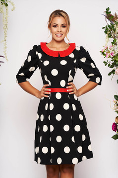 LaDonna black elegant daily cloche dress slightly elastic fabric with dots print with round collar