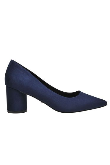 Pantofi Top Secret albastru-inchis elegant office din material satinat cu toc gros