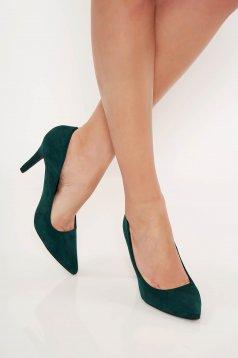Pantofi Top Secret verde office cu varful usor ascutit din material catifelat